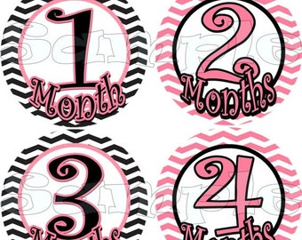 Girl Baby monthly stickers Month to Month stickers Baby Shower gift Baby Month stickers Baby girl Nursery zigzag Baby girl stickers month