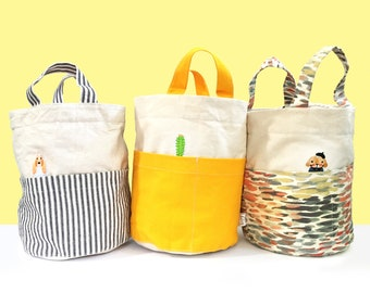 Contrast Canvas Bucket Bags with Pocket Pals