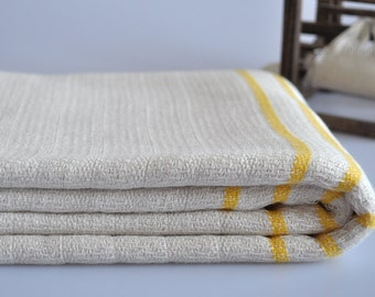 Thick Peshtemal Towel Hand Loomed Cotton bamboo mixed Turkish towel with yellow stripes, genuine handloomed
