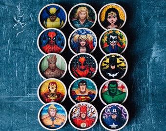 Wooden superhero badges
