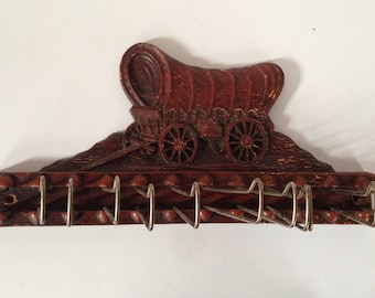 Vintage Syroco Covered Wagon Tie Rack