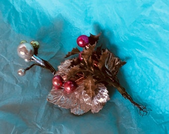 2 Very vintage Christmas beaded corsage