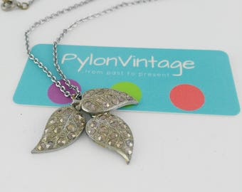 Three Leaf Pendant - Bridesmaid Gift - Marcasite Leaf Pendant - Mother's Day Gift - Wedding Necklace - Bridal Necklace - Gift for Women