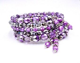 Purple beaded bracelet, memory wire bracelet, crystal bracelet, purple wrap bracelet, memory wire wrap bracelet, coil bracelet