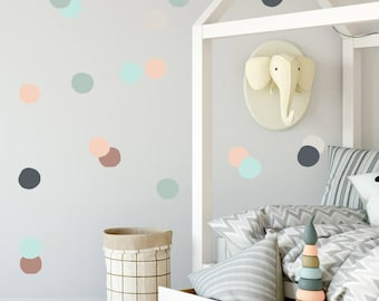 Vinyl Stickers Polka dots, Wall Decals, Teal, Coral, Polka dot, Baby Wall Decal, Kids Wall Decal Modern Nursery Wall Decal, vinyl polka dots
