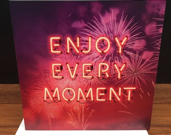 Bright BIRTHDAY or GREETINGS card with fireworks and neon type