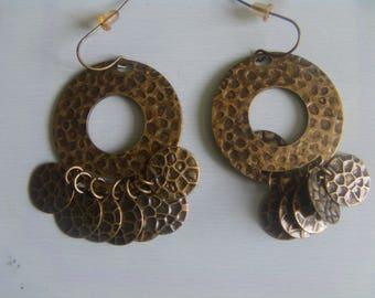 Earrings metal Bohemian style bronze