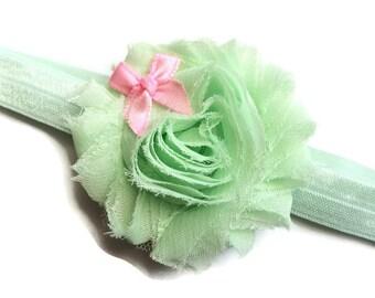 Mint Green Shabby Flower Headband for Spring - Headband for Girls - Easter Headband - Mint Green Headband - Girls Head Band Photo Prop -