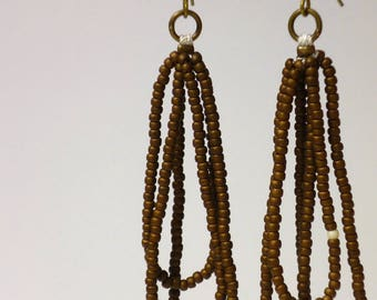 brass and brown seed bead earrings