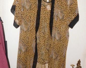 Femme Fatale Negligé Leopard Tigerwäsche Tigerpyjama Pyjama Schlafanzug G 38 NEU