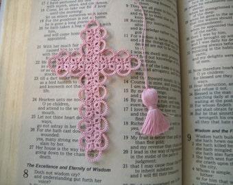 Cross Bookmark Tatted Pink Lace Tatting