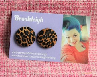LEOPARD PRINT Button Earrings 23mm Hypoallergenic, Retro/ Rockabilly/ Vintage Inspired