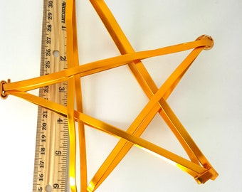 "Gold Star Tree Topper -  metal star handmade tree topper - medium - golden 6.5"" flat wired A"