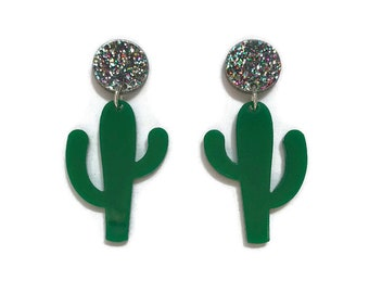 Cactus Dangle Earrings - Green and Glitter - Retro, Mod, Vintage Style  - Laser Cut Acrylic - Women's, Rockabilly, Pinup