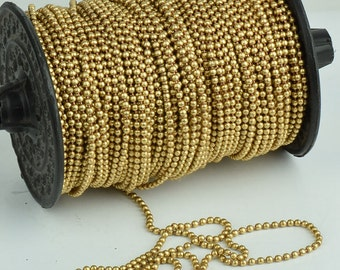 Brass Ball Chain Size 2.5 mm, per spool 31 meter (101ft) C686