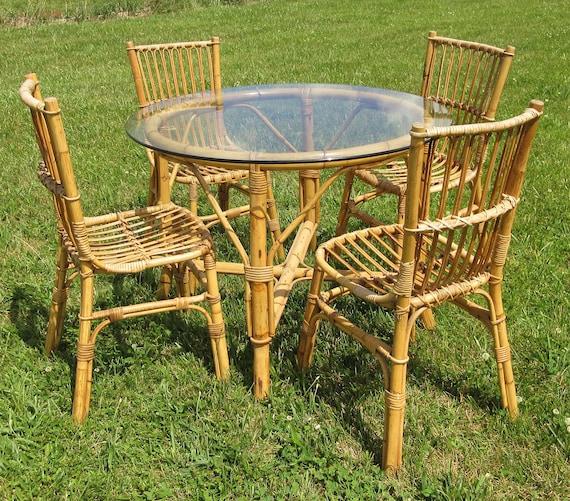 Vintage Mid Century Rattan / Bamboo Table and Chair Set / Tiki / 1950s 1960s / Sunroom Dining Room Patio Furniture / Glass Top / Delivery & Vintage Mid Century Rattan / Bamboo Table and Chair Set / Tiki