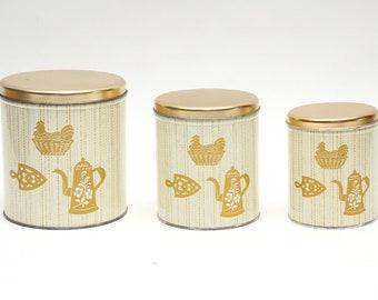 Vintage Nesting Metal Cannister Set Decoware Mid Century