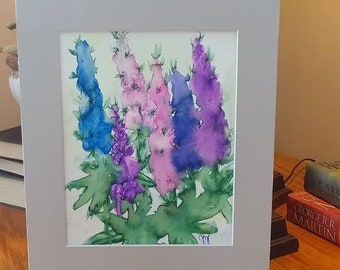 Watercolor Delphinium with gray mat