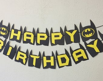 Batman Birthday Banner - Batman Party - Batman Theme - Batman Theme Birthday - Batman Name Banner