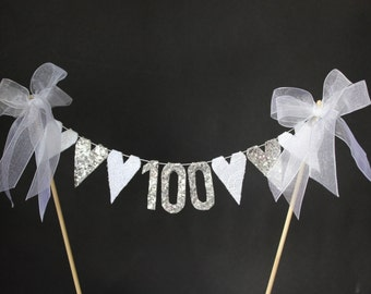100th birthday cake topper, cake bunting for a special birthday or centenary celebration