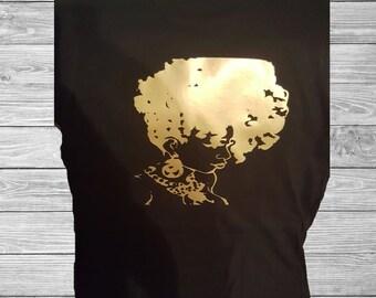Natural hair T-Shirt, African American Hair T-Shirt, Natural Hair, Custom T-Shirt, Black and Gold T-Shirt