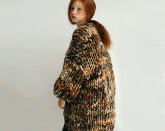 Oversized Chunky cardigan coat Chunky merino knit Oversized cardigan Chunky knit coat Merino wool coat Melange cardigan
