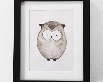 Woodland watercolor owl