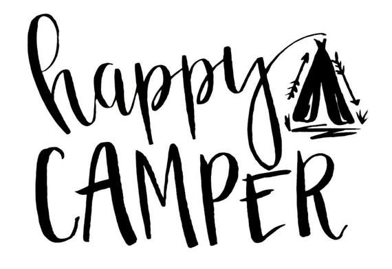 happy CAMPER - Hand Lettering - Brush Pen - Digital Download - Print