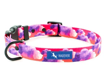 Dog collar |WILD WEST|, Collar with buckle, Sunset, Pink pattern, Clouds