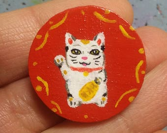 Maneki Neko Hand Painted Pin