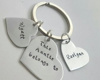 This auntie, belongs to, auntie gift, gift for aunt, special aunt, aunt gift, aunt birthday, sister gift, Hand stamped, aunt keychain