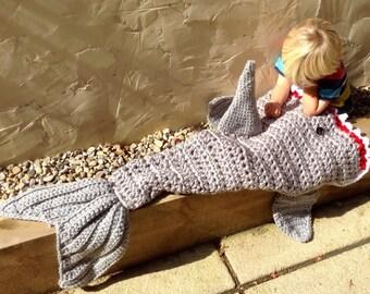 Shark blanket, fish tail blanket,  snuggle blanket, boy blanket up to 6 years, UK