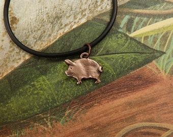 Bronze Pig Necklace
