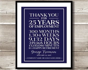 25 Year Work Anniversary/Retirement Print; gift; digital print; customizable; thank you gift; years of service; employee recognition