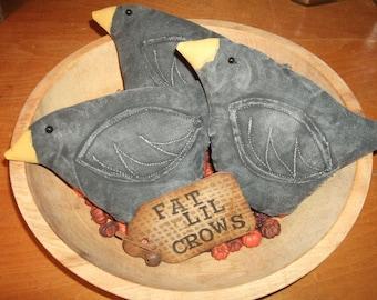 Primitive CROWS Three (3) Bowl Filler Ornies Rustic Folk Art Country Style Decor, OFG & HAFAIR Teams