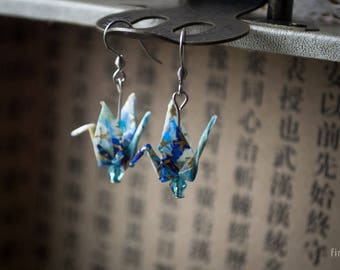 Origami Crane Earrings (blues)