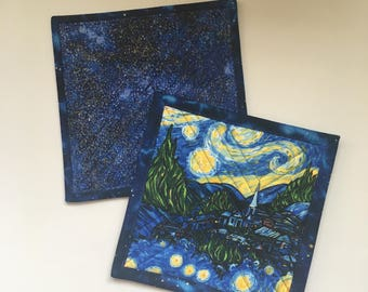 Starry Night Quilted Pot Holders, Handmade Cook Gift, Kitchen Hot Pads