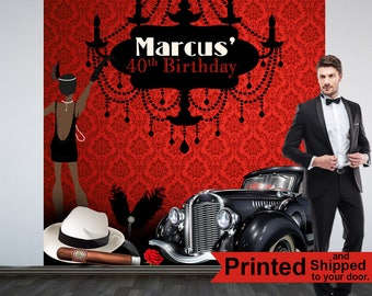 Gangster Party Personalized Photo Backdrop -Mafia Retro Photo Backdrop- Birthday Photo Booth Backdrop, Speakeasy Photo Backdrop, Printed