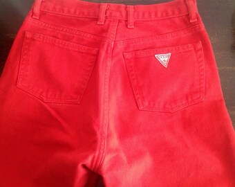 Vintage late 80s or early 90s High Waisted Guess Jeans, straight leg,  womens medium, red, size 29