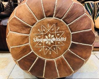 Moroccan pouf ottoman round ottoman luxury pouffes Brown pouffe Tan pouf