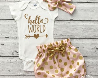 Newborn Outfit, Hello World Onesie, Baby Bloomer Outfit, Bubble Bloomers, Bubble Shorts, Hello World Outfit