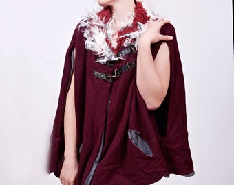 Medieval Wool Cape- Pick Your Colour- Upcycled Leather and Faux Fur with Fleece Lining- Burning Man, Festival, LARP, Game of Thrones, Forest