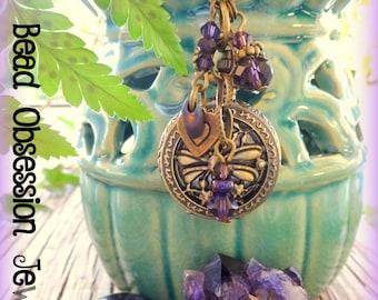 Pocket Watch Necklace; Purple Necklace; Boho Necklace; Long Hippie Necklace; Bohemian Necklace; Dragonfly Necklace; Australian Seller