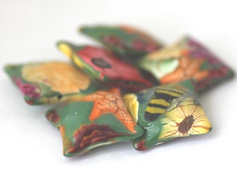 Polymer Clay Beads, Green Pillow Beads, Forest Flowers, 6 Pieces