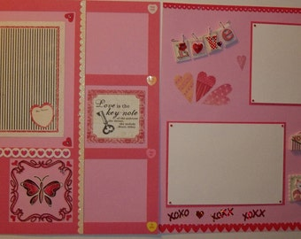 12 x 12 premade scrapbook layout; double page Valentine's scrapbook layout; Valentines scrapbook page; 12 x 12 premade Valentine pages