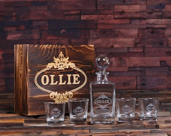 Personalized Engraved Etched Scotch Whiskey Decanter Bottle with Wood Box Groomsmen, Man Cave, Christmas Gift for Him item 025280