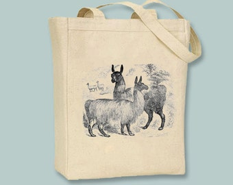 Vintage Llamas Illustration Canvas Tote  - Selection of sizes available