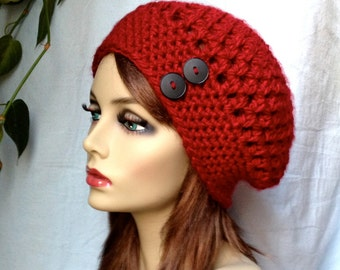 Valentines Red Womens Hat, Crochet Beret, Holiday Gifts, Buttons, Pick Color, Chunky, Warm, Teens, Birthdays Gifts for Her JE467BTBU4