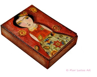 Frida Flowers - ACEO Giclee print mounted on Wood (2.5 x 3.5 inches) Folk Art  by FLOR LARIOS