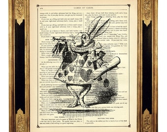 Alice in Wonderland Dictionary Art The White Rabbit Trumpet b&w Easter - Steampunk Vintage Victorian Book Page Art Print